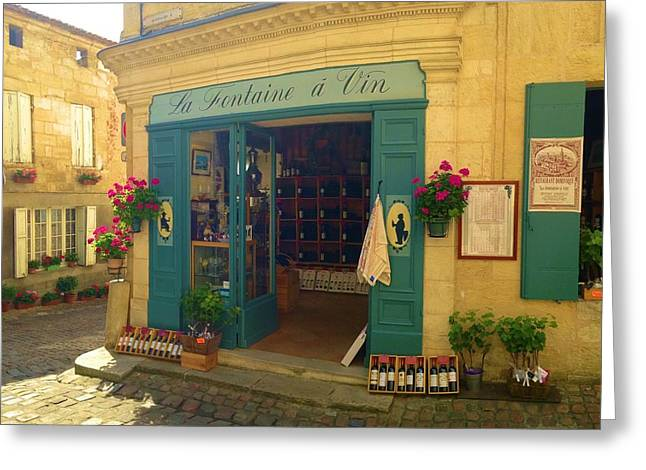 Wine Shop In French Village Greeting Card by Richard Jenkins
