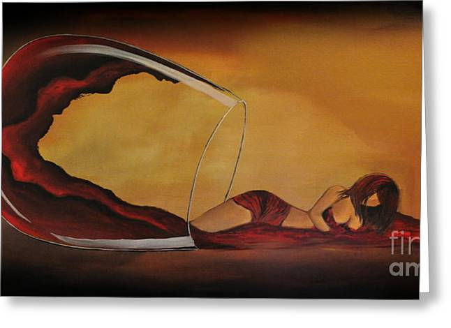 Wine-spilled Woman Greeting Card by Preethi Mathi