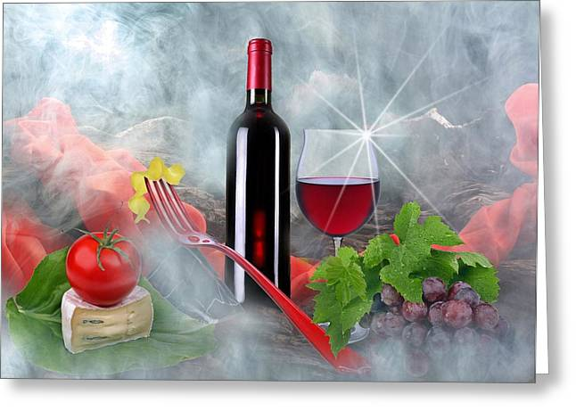 Noodles Greeting Cards - Wine spirits 3 Greeting Card by Manfred Lutzius
