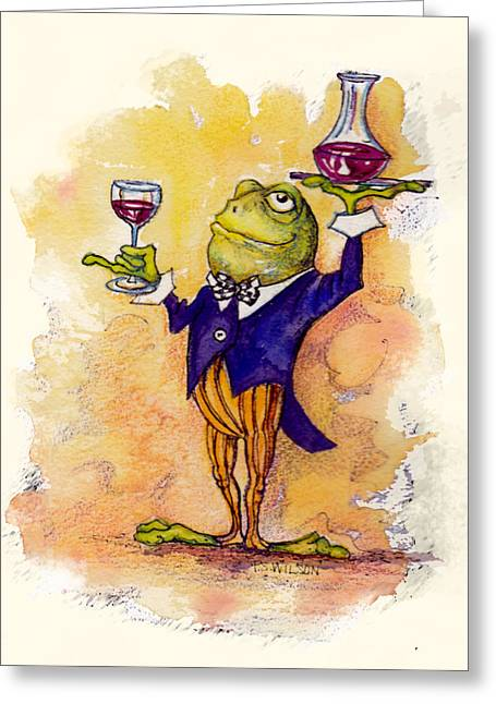 Stewards Greeting Cards - Wine Steward Toady Greeting Card by Peggy Wilson