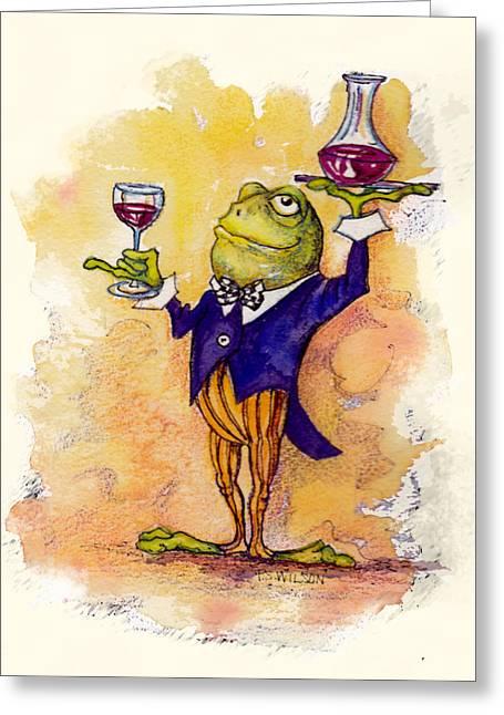 Steward Greeting Cards - Wine Steward Toady Greeting Card by Peggy Wilson