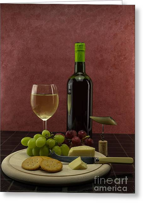Red Wine Bottle Greeting Cards - Wine still life Greeting Card by F Helm