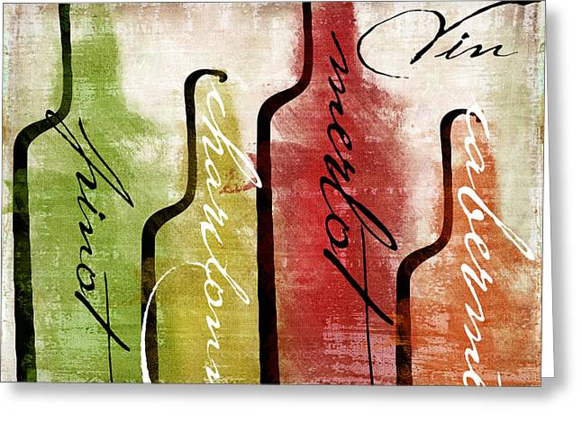 Red Wine Bottle Greeting Cards - Wine Tasting I Greeting Card by Mindy Sommers