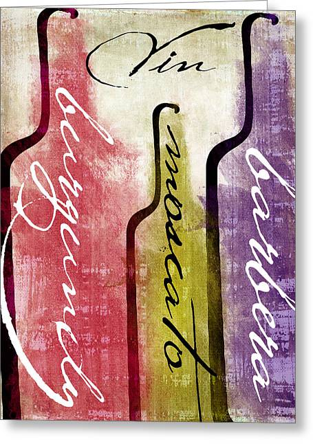 Red Wine Bottle Greeting Cards - Wine Tasting II Greeting Card by Mindy Sommers