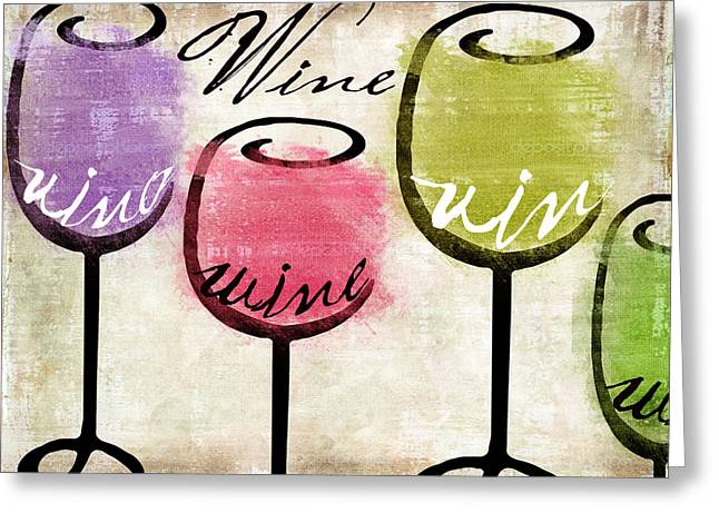 Red Wine Bottle Greeting Cards - Wine Tasting III Greeting Card by Mindy Sommers