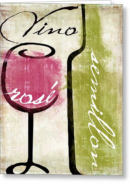 Red Wine Bottle Greeting Cards - Wine Tasting IV Greeting Card by Mindy Sommers
