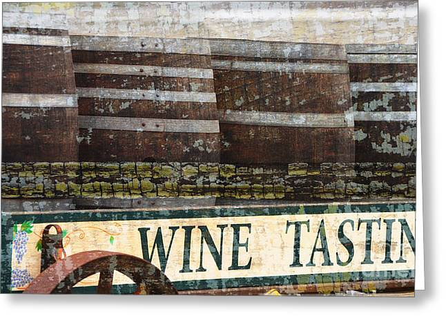 Vineyard Landscape Mixed Media Greeting Cards - Wine Tasting Vintage Sign Greeting Card by Anahi DeCanio - ArtyZen Studios