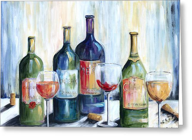Wine Time Greeting Card by Marilyn Dunlap