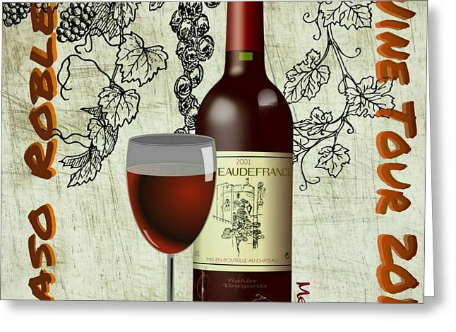 Merlot Drawings Greeting Cards - Wine Tour  Greeting Card by Craig Williams
