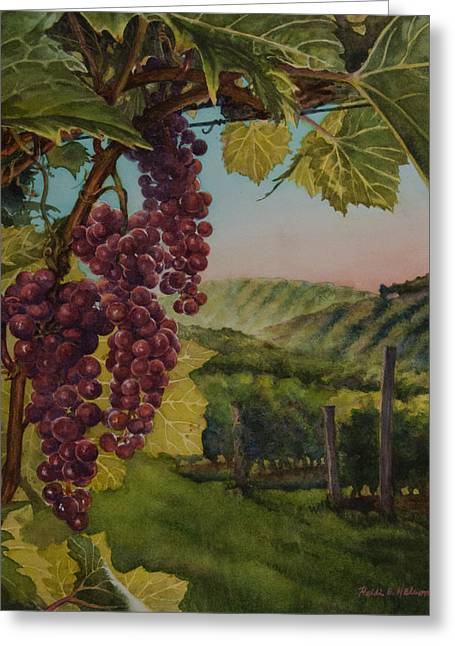 Grape Vineyard Greeting Cards - Wine Vineyard Greeting Card by Heidi E  Nelson