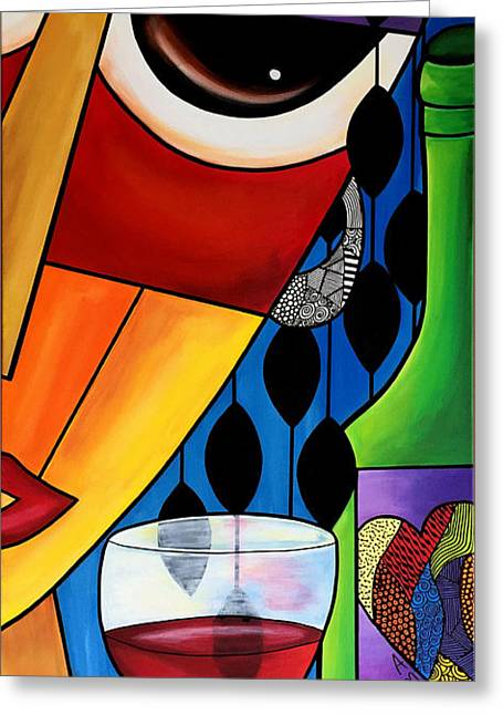 Abstract Style Greeting Cards - Wine Woman Greeting Card by Pam Reinke