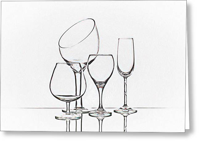 Wineglass Graphic Greeting Card by Tom Mc Nemar