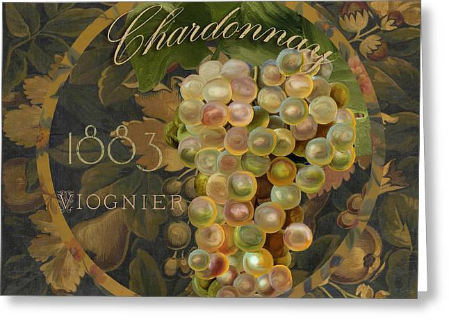 Labelled Greeting Cards - Wines of France Chardonnay Greeting Card by Mindy Sommers