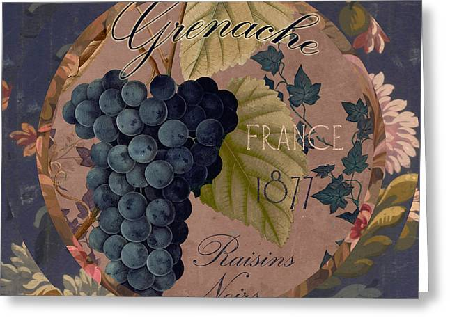 Labelled Greeting Cards - Wines of France Grenache Greeting Card by Mindy Sommers