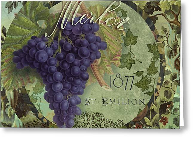 Purple Grapes Paintings Greeting Cards - Wines of France Merlot Greeting Card by Mindy Sommers
