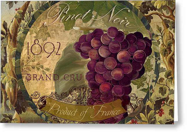 Labelled Greeting Cards - Wines of France Pinot Noir Greeting Card by Mindy Sommers