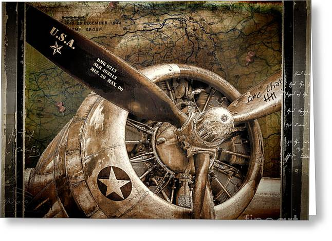 Military Airplanes Paintings Greeting Cards - Wing and a Prayer Greeting Card by Mindy Sommers