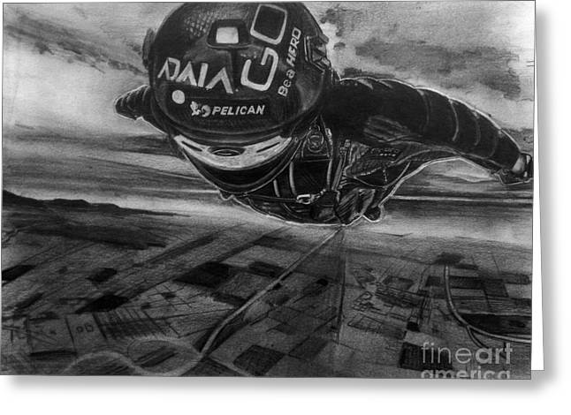 Go Pro Greeting Cards - Wingsuit Greeting Card by Gary Reising
