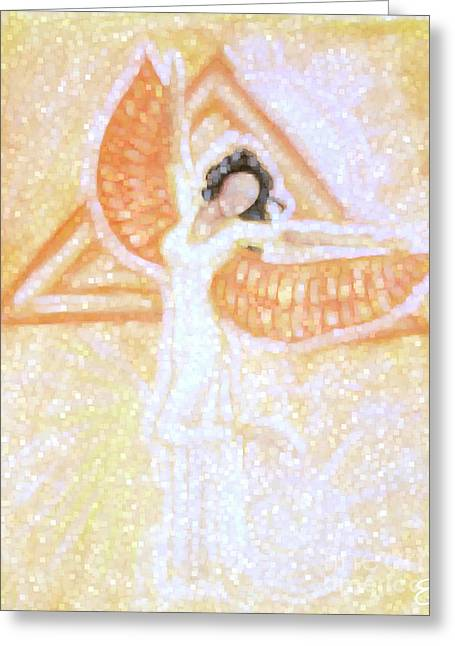 Abstract Digital Pastels Greeting Cards - Winged Goddess Greeting Card by Cassandra Geernaert
