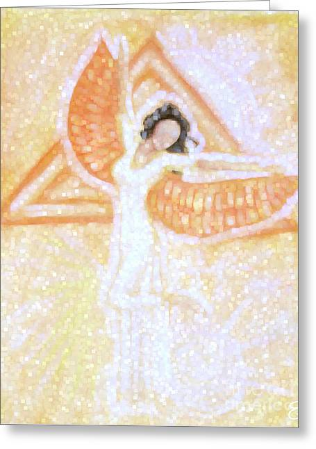 Recently Sold -  - Abstract Digital Pastels Greeting Cards - Winged Goddess Greeting Card by Cassandra Geernaert