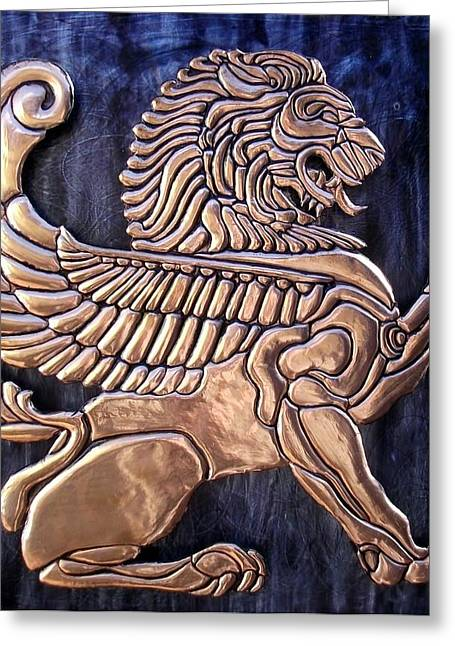 Animals Reliefs Greeting Cards - Winged Lion Greeting Card by Cacaio Tavares