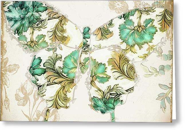 Butterflies Paintings Greeting Cards - Winged Tapestry I Greeting Card by Mindy Sommers