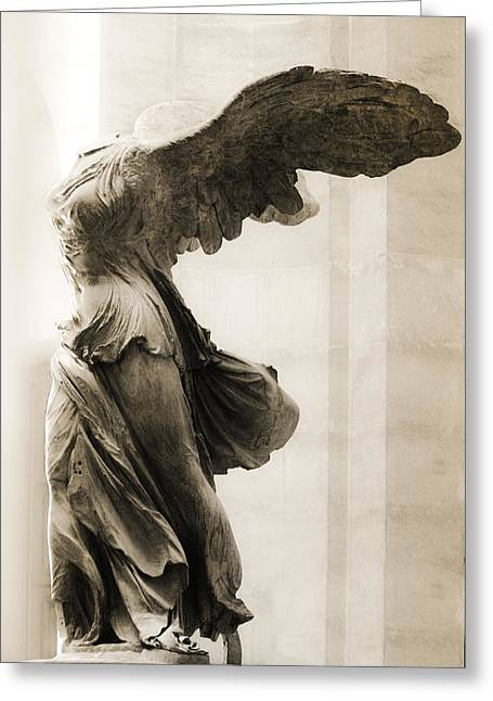 """winged Victory"" Greeting Cards - Winged Victory of Samothrace Greeting Card by Hsin Liu"