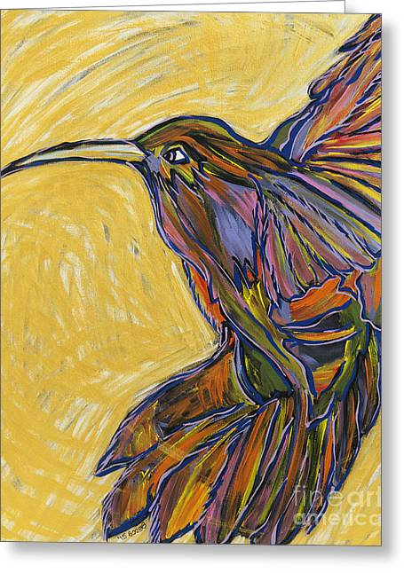 Emergence Paintings Greeting Cards - Winging It Greeting Card by Becca Lynn Weeks