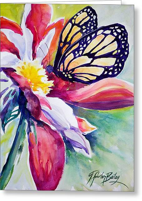 Therese Fowler-bailey Greeting Cards - Stained Glass and Petals SOLD Greeting Card by Therese Fowler-Bailey