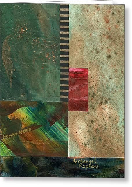 Archangel Mixed Media Greeting Cards - Wings of the Healer #1 Greeting Card by Mary Martin