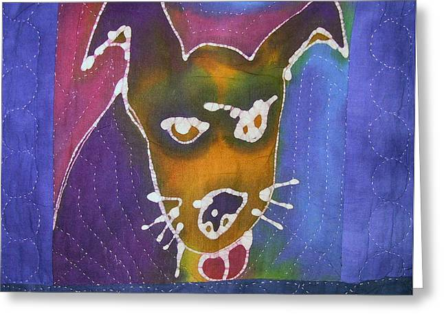 Dog Tapestries - Textiles Greeting Cards - Winky Quilt Centerpiece detail Greeting Card by Deva  Hymen