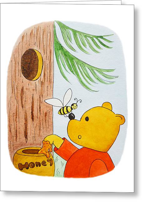 Honey Bee Greeting Cards - Winnie The Pooh and His Lunch Greeting Card by Irina Sztukowski