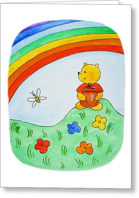 Honey Bee Greeting Cards - Winnie The Pooh  Greeting Card by Irina Sztukowski