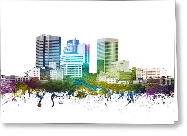 Rainbows Drawings Greeting Cards - Winnipeg cityscape 01 Greeting Card by Aged Pixel