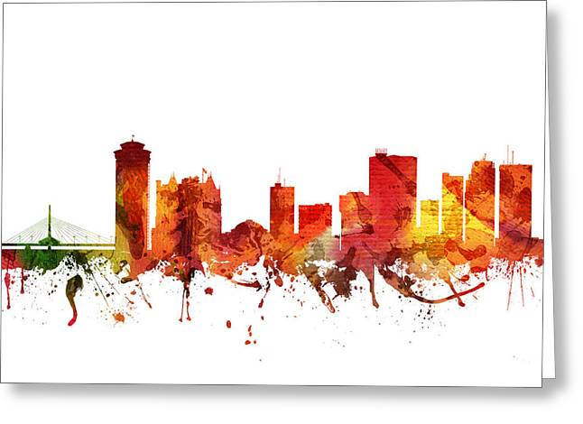 Canadian Drawings Greeting Cards - Winnipeg cityscape 04 Greeting Card by Aged Pixel