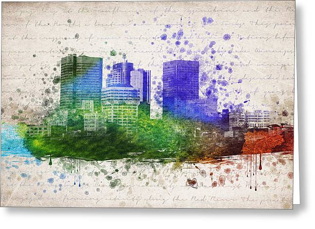 Grunge Drawings Greeting Cards - Winnipeg In Color Greeting Card by Aged Pixel