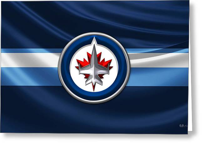 Hockey Memorabilia Greeting Cards - Winnipeg Jets - 3D Badge over Silk Flag Greeting Card by Serge Averbukh