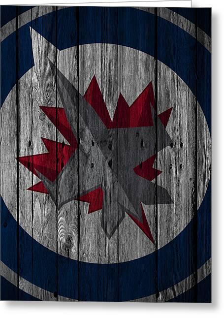 Winnipeg Jets Wood Fence Greeting Card by Joe Hamilton