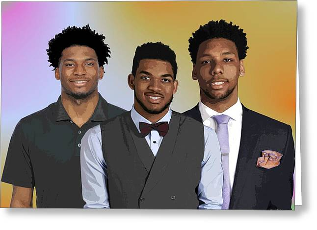 Nba Draft Greeting Cards - Winslow Towns and Okafor  Greeting Card by Walter Oliver Neal