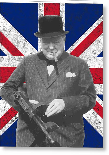 Churchill Greeting Cards - Winston Churchill And Flag Greeting Card by War Is Hell Store