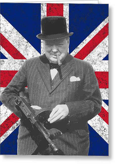 Stored Greeting Cards - Winston Churchill and His Flag Greeting Card by War Is Hell Store