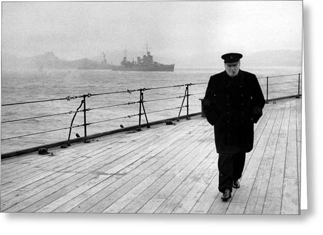 Patriotic Art Greeting Cards - Winston Churchill At Sea Greeting Card by War Is Hell Store