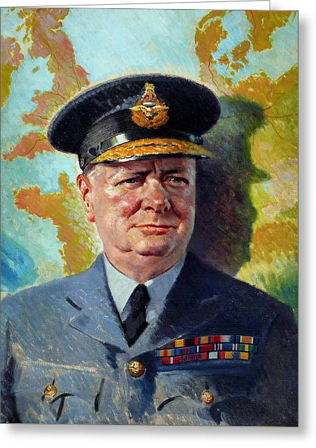 Ww11 Greeting Cards - Winston Churchill In Uniform Greeting Card by War Is Hell Store