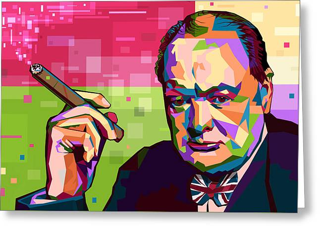 Winston Churchill Greeting Card by Mal Bray