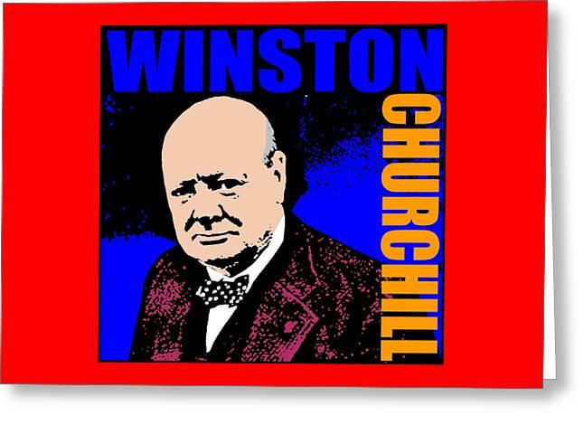Winston Churchill Greeting Card by Otis Porritt