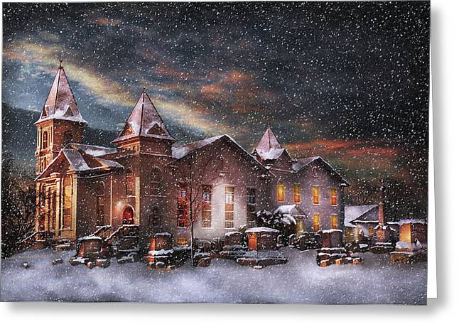 Customizable Greeting Cards - Winter - Clinton NJ - Silent Night  Greeting Card by Mike Savad