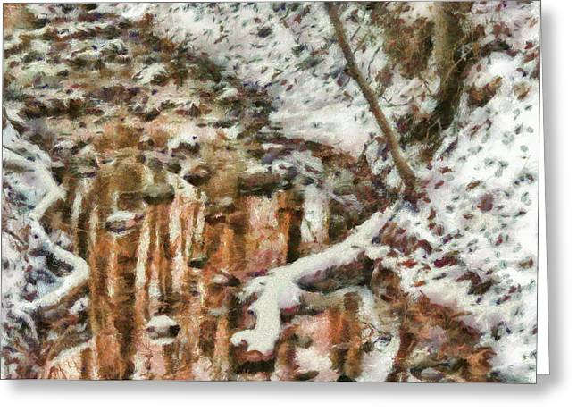 Winter - Natures Harmony Painted Greeting Card by Mike Savad