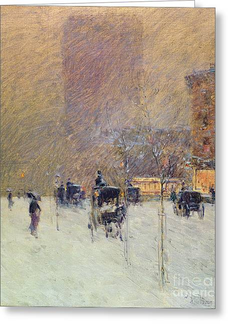 Blizzard New York Greeting Cards - Winter Afternoon in New York Greeting Card by Childe Hassam
