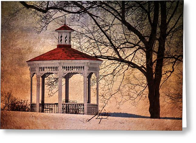 Outbuildings Greeting Cards - Winter Air at Cordts Mansion Greeting Card by Pamela Phelps