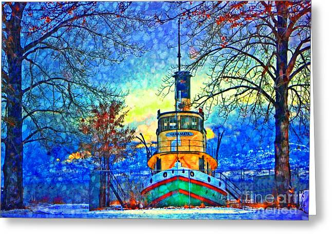 Tug Greeting Cards - Winter and the Tug Boat 2 Greeting Card by Tara Turner
